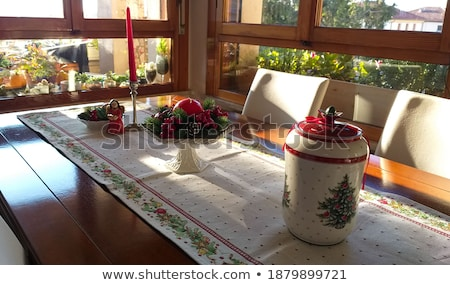home kitchen in red colors natural window light stock photo © lunamarina