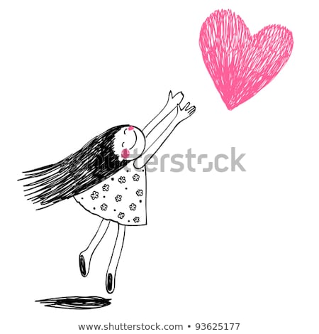 Funny girl with hearts. Doodle cartoon character. stock photo © balasoiu