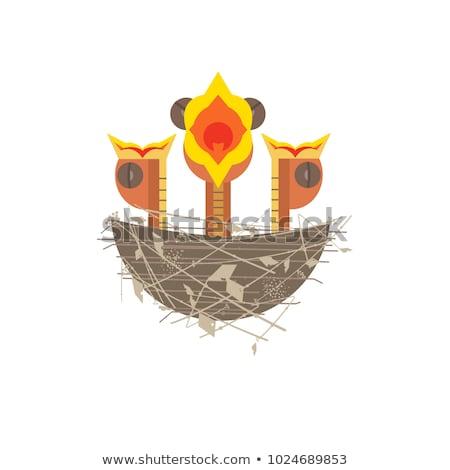 baba · madár · rajz · aranyos · mosoly · terv - stock fotó © aminmario11
