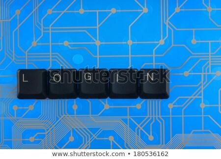 Toetsenbord sleutels uit woord inloggen Blauw Stockfoto © alekleks
