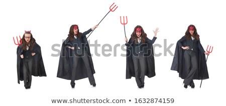 Női visel ördög jelmez mosoly szexi Stock fotó © Elnur