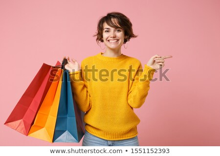 woman after shopping isolated on the white stock photo © elnur