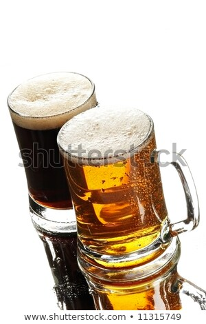 Glass Goblet filled with fresh Dark Beer on White  Stock photo © tab62