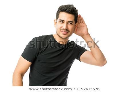 portret · człowiek · siwe · włosy · patrząc · szczęśliwy - zdjęcia stock © feedough