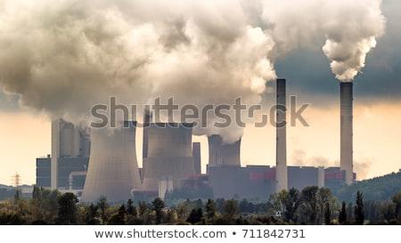 Füst gyár város meleg fagyott égbolt Stock fotó © Aikon