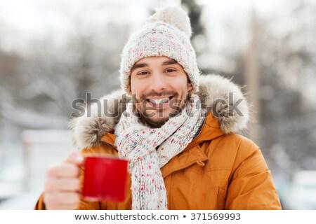 冬 男 カップ 若い男 ドリンク ストックフォト © elly_l