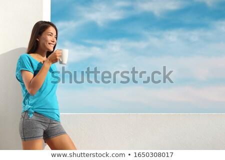 Fitness meisje drinken opleiding water sport Stockfoto © gabor_galovtsik