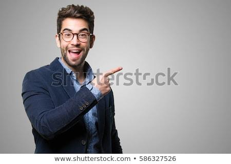 moço · bem-vindo · gesto · isolado · mão · sorrir - foto stock © fuzzbones0