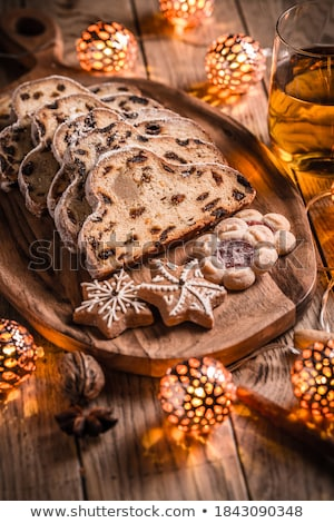 Karácsony gyümölcstorta szeletek torta reggeli közelkép Stock fotó © Digifoodstock