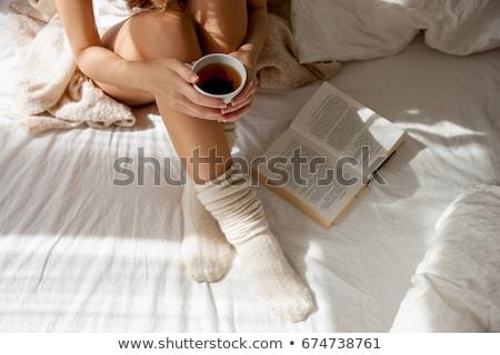 könyv · citrom · tea · sütik · asztal · otthon - stock fotó © lana_m