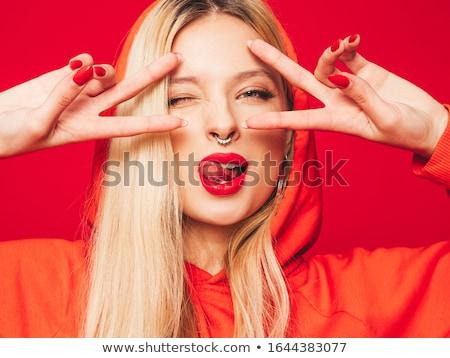 Stúdió portré szexi szőke bőr kárpit Stock fotó © restyler