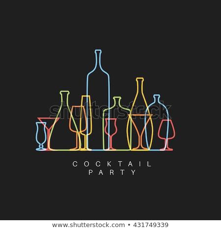 cocktail · bleu · silhouette · alcool · cocktail · verre - photo stock © orson