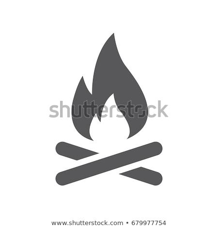 Kamp ateşi simgeler örnek beyaz arka plan kırmızı Stok fotoğraf © bluering