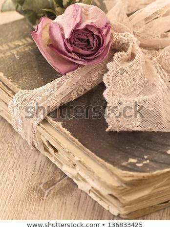 Rosa vermelha velho livro rústico mesa de madeira nome Foto stock © nito