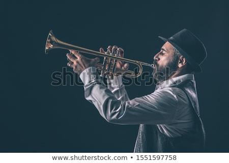 暗い 肖像 真鍮 ミュージシャン 金管楽器 黒 ストックフォト © andreasberheide