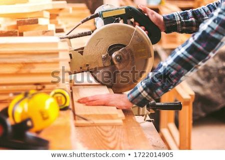 Carpenter holding saw and wooden board. Stock photo © RAStudio