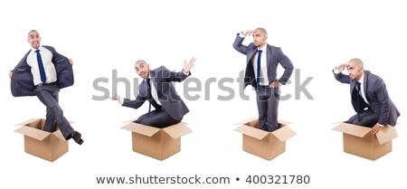 Divertente uomo scatole isolato bianco business Foto d'archivio © Elnur