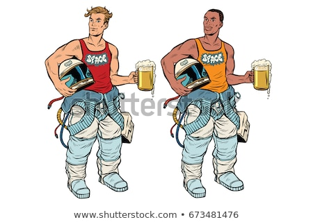 retro · astronaut · mok · bier · pop · art · vector - stockfoto © studiostoks