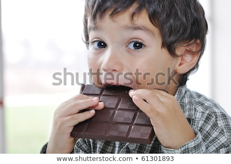 Young boy eating chocolate cake Stock photo © IS2