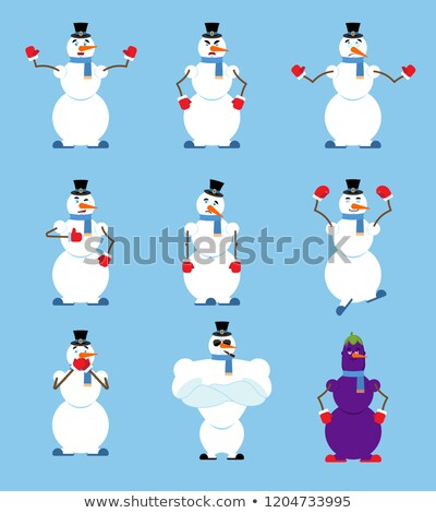 Snowman set poses and motion. Fitter happy and yoga. Serviceman  Stock photo © popaukropa