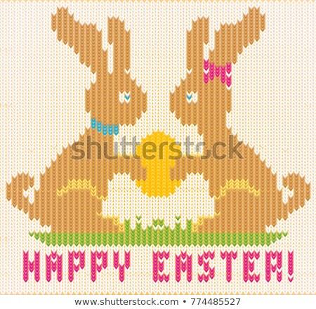 Joyeuses pâques tricoté lapin accueil wallpaper lapin Photo stock © carodi