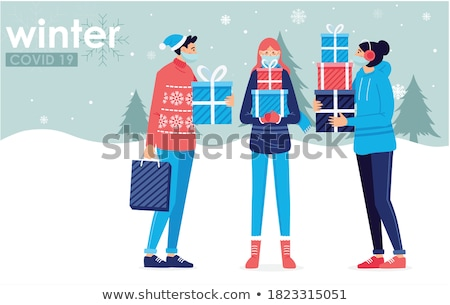 Karácsony ünnepek vásárlás poszter karácsony labda Stock fotó © studioworkstock