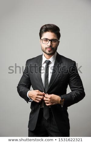 Indian bebaarde zakenman business pak documenten Stockfoto © studioworkstock