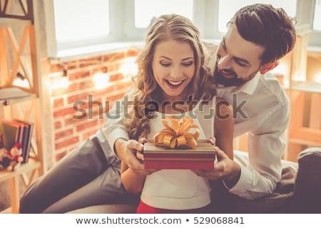 Adam hediye kadın doğum günü kutu yatak odası Stok fotoğraf © IS2