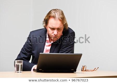 blond hair businessman White_desk work stock photo © toyotoyo