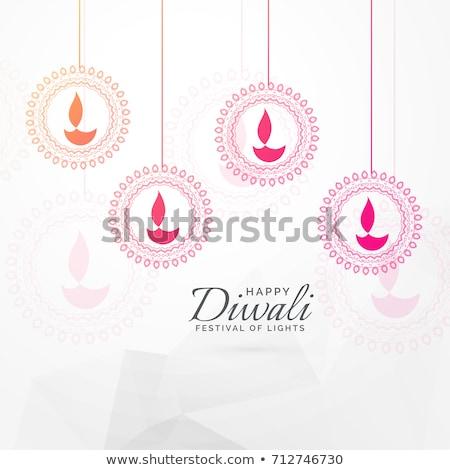 diwali festival greeting with hanging diya Stock photo © SArts