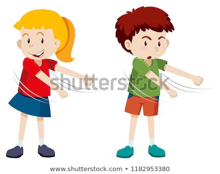 Boy and girl floss dance Stock photo © bluering