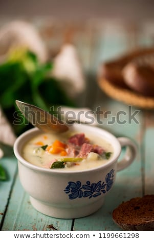 ham soup with potatoes and kale Stock photo © zoryanchik