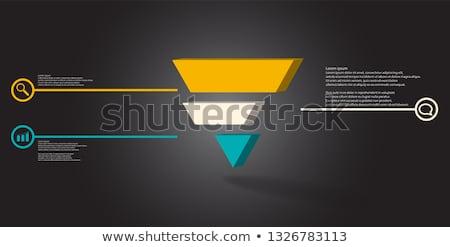 Orange 3d Pyramidical Embossed Shape Vector Illustration Stock photo © cidepix