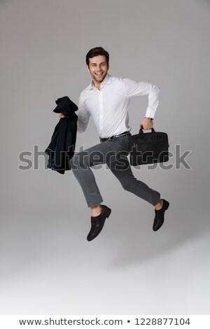 Tam uzunlukta görüntü heyecanlı adam 30s iş Stok fotoğraf © deandrobot