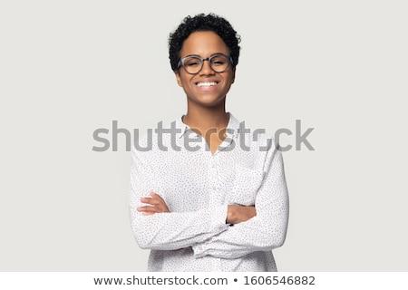 小さな アフロ 女性 着用 眼鏡 笑みを浮かべて ストックフォト © NeonShot