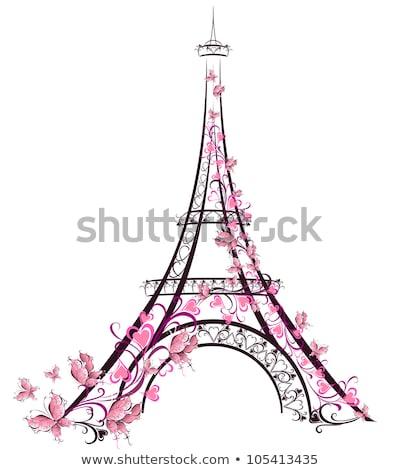 Eyfel Kulesi kelebek pembe suluboya romantik valentine Stok fotoğraf © Artspace