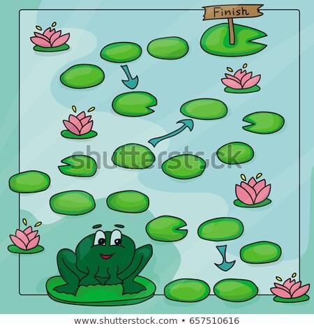 Jogo modelo lagoa ilustração natureza paisagem Foto stock © colematt