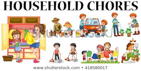 Kids Doing Gardening Illustration Stock photo © artisticco