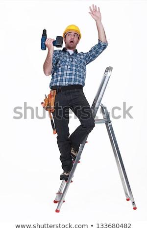 大工 下がり はしご 小さな 男性 金属 ストックフォト © AndreyPopov