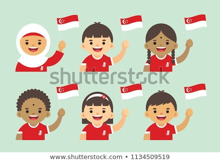 Happy girl and flag of Singapore Stock photo © colematt