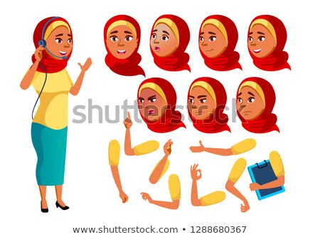 Arab muszlim tinilány vektor tinédzser vicces Stock fotó © pikepicture