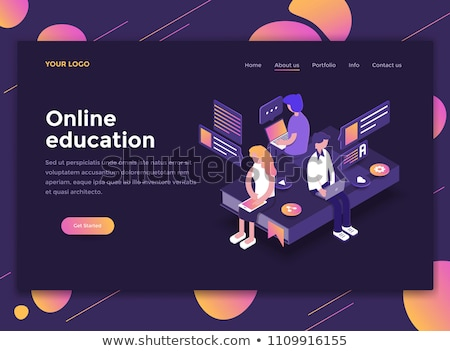isometric flat vector landing page template of video editing app stock photo © tarikvision