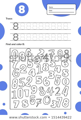 Number eight tracing worksheets Stock photo © colematt