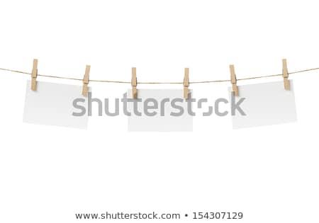 Um prendedor de roupa branco azul plástico ilustração 3d Foto stock © make