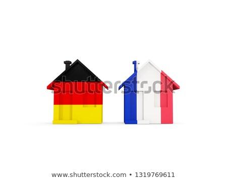 Сток-фото: два · домах · флагами · Германия · Франция · изолированный