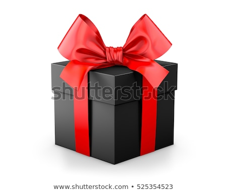 Black Friday Sale.Open Black Gift box with red bow and ribbon top view. Vector illustration Stock photo © olehsvetiukha