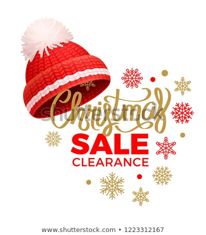 Christmas Sale Clearance, Knitted Red Hat, Pom-Pom Stock photo © robuart