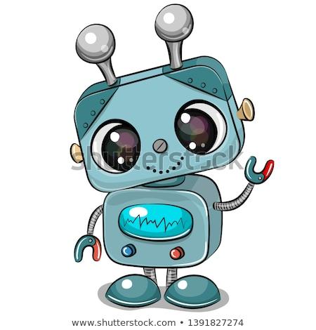happy blue robot funny cartoon character stock photo © izakowski