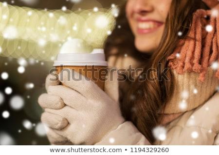 mutlu · kadın · genç · kız · Noel · ışıklar · insanlar - stok fotoğraf © dolgachov