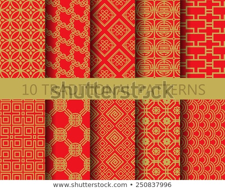 Set Chinese seamless pattern. Red and golden chinese traditional ornament background. Vector illustr Stock photo © olehsvetiukha